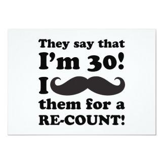 Funny Mustache 30th Birthday Invites