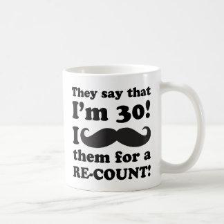 Funny Mustache 30th Birthday Classic White Coffee Mug