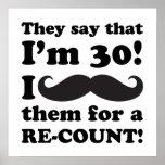 Funny Mustache 30th Birthday Poster