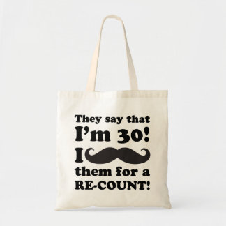 Funny Mustache 30th Birthday Tote Bag