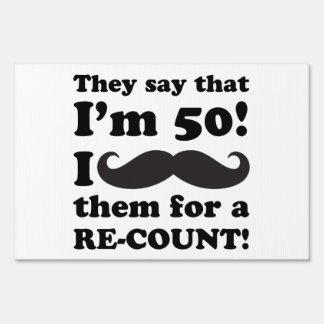 Funny Mustache 50th Birthday Sign