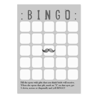 Funny Mustache 5x5 Grey Bingo Card Large Business Cards (Pack Of 100)