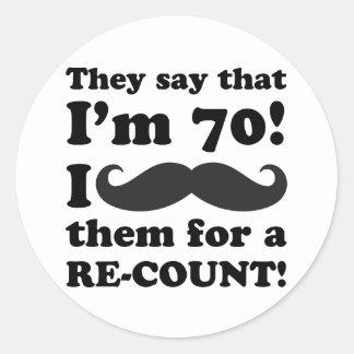 Funny Mustache 70th Birthday Classic Round Sticker