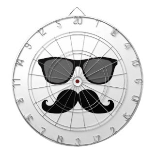 Funny Mustache and Black Sunglasses Dartboard With Darts