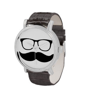 Funny Mustache and Glasses Face Watches