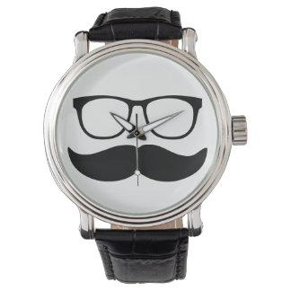 Funny Mustache and Glasses Face Wrist Watch