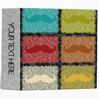 Funny Mustache and Leopard Print 3 Ring Binder