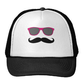 Funny Mustache and Pink Sunglasses Humor Hats