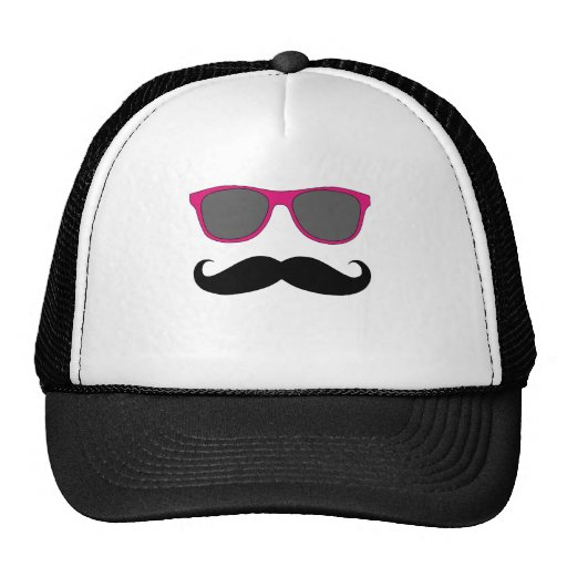 Funny Mustache and Pink Sunglasses Humor Trucker Hat