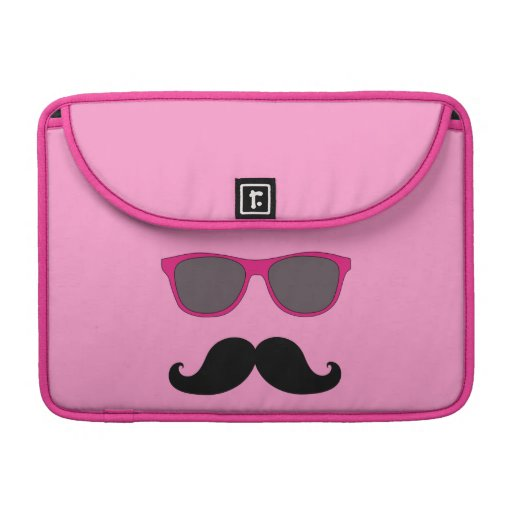 FUNNY MUSTACHE AND PINK SUNGLASSES SLEEVE FOR MacBook PRO
