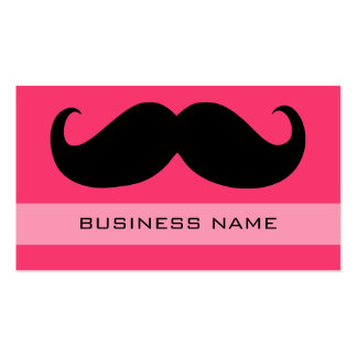 Funny Mustache and Plain Hot Pink Business Card