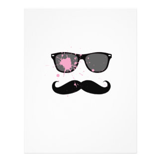 "Funny Mustache and Sunglasses 8.5"" X 11"" Flyer"