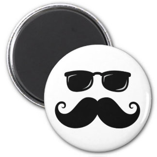 Funny mustache and sunglasses face 2 inch round magnet