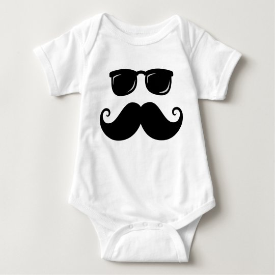 Funny mustache and sunglasses face baby bodysuit