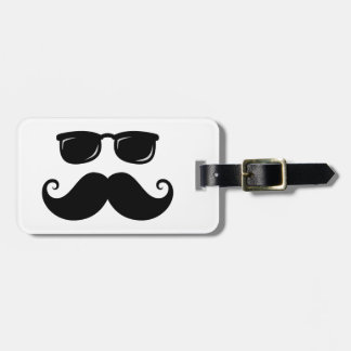 Funny mustache and sunglasses face bag tag