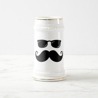 Funny mustache and sunglasses face beer stein