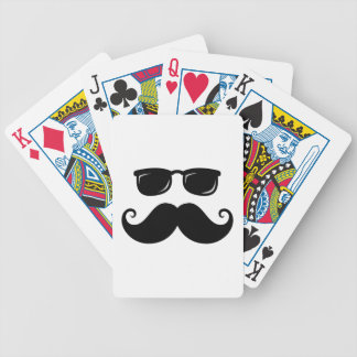 Funny mustache and sunglasses face bicycle playing cards