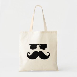 Funny mustache and sunglasses face budget tote bag