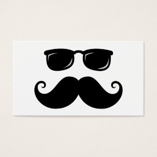 Funny mustache and sunglasses face business card