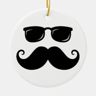 Funny mustache and sunglasses face ceramic ornament