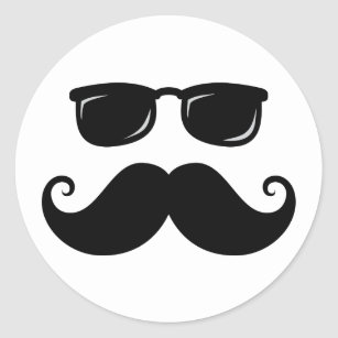 funny mustache and sunglasses face classic round sticker