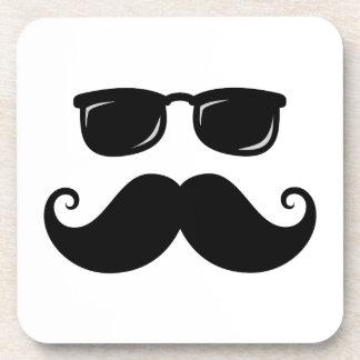 Funny mustache and sunglasses face coaster