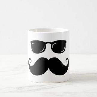 Funny mustache and sunglasses face coffee mug