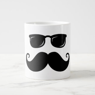 Funny mustache and sunglasses face giant coffee mug