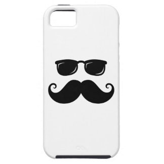 Funny mustache and sunglasses face iPhone 5 cases