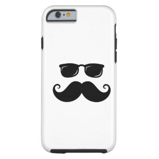 Funny mustache and sunglasses face iPhone 6 case