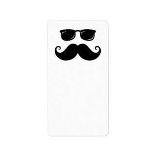 Funny mustache and sunglasses face personalized address labels