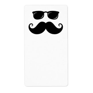 Funny mustache and sunglasses face custom shipping label