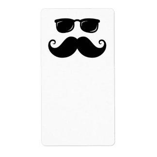 Funny mustache and sunglasses face label