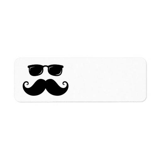 Funny mustache and sunglasses face return address label