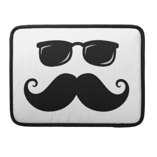 Funny mustache and sunglasses face MacBook pro sleeve