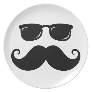 Funny mustache and sunglasses face melamine plate