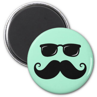 Funny mustache and sunglasses face mint green 2 inch round magnet