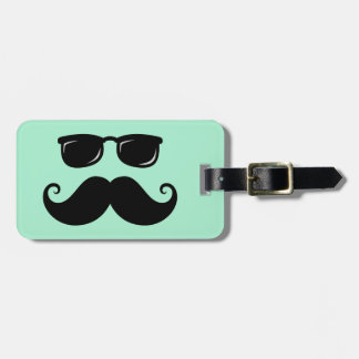 Funny mustache and sunglasses face mint green bag tag