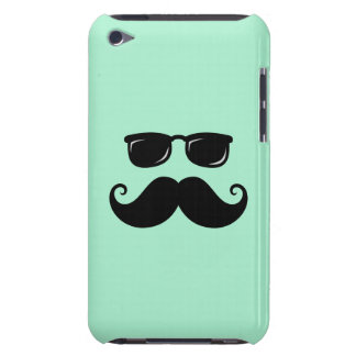 Funny mustache and sunglasses face mint green barely there iPod case