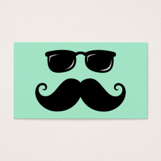 Funny mustache and sunglasses face mint green business card