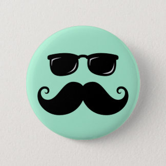 Funny mustache and sunglasses face mint green button