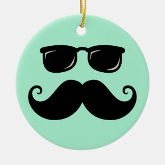 Funny mustache and sunglasses face mint green ceramic ornament