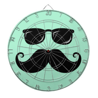 Funny mustache and sunglasses face mint green dartboard with darts