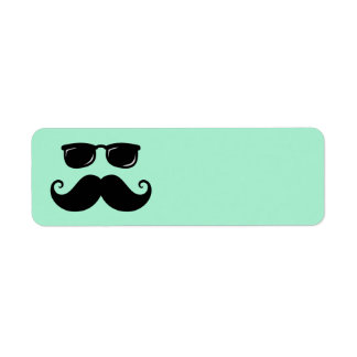 Funny mustache and sunglasses face mint green labels