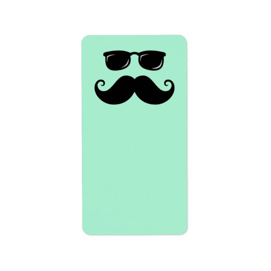 Funny mustache and sunglasses face mint green label