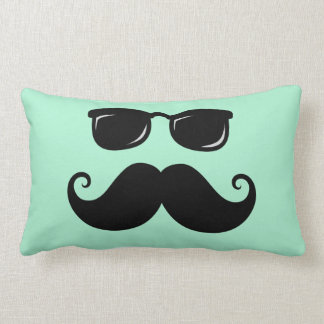 Funny mustache and sunglasses face mint green lumbar pillow