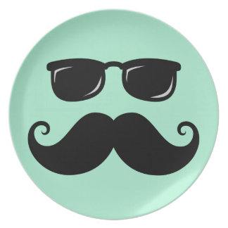 Funny mustache and sunglasses face mint green melamine plate