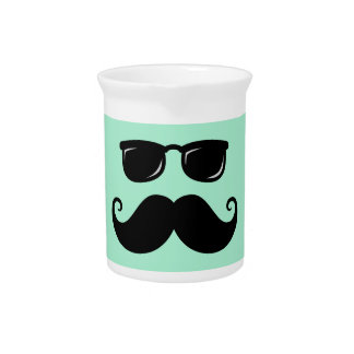 Funny mustache and sunglasses face mint green beverage pitchers