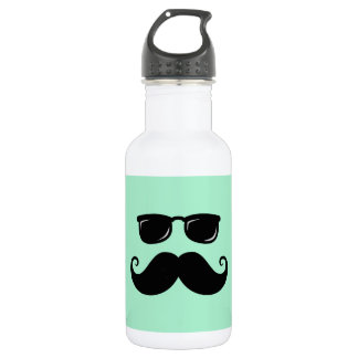 Funny mustache and sunglasses face mint green stainless steel water bottle