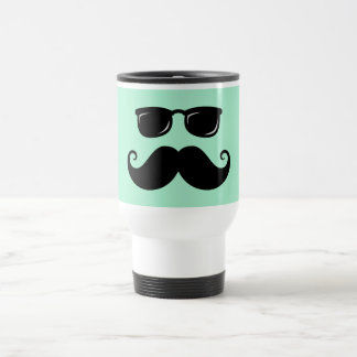 Funny mustache and sunglasses face mint green travel mug